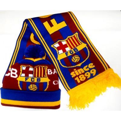Набор шарф и шапка  ФК Барселона