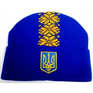Шапка вязаная Украина модель Тарас синяя