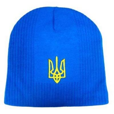 Шапка вязаная Украина герб голубая