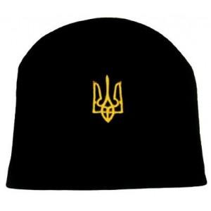 Шапка вязаная Украина герб черная