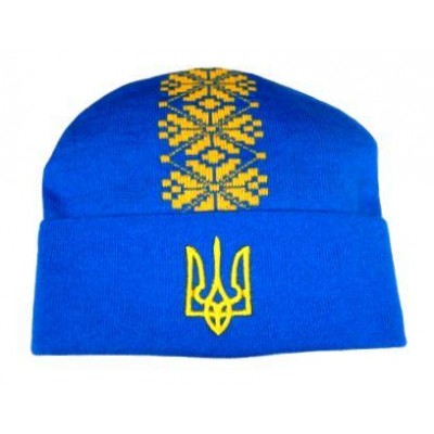 Шапка вязаная Украина модель Тарас голубая
