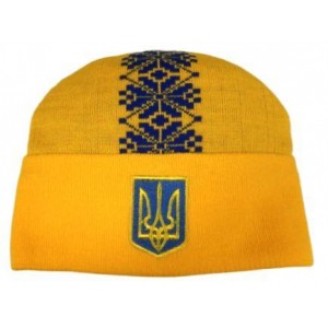 Шапка вязаная Украина модель Тарас желтая