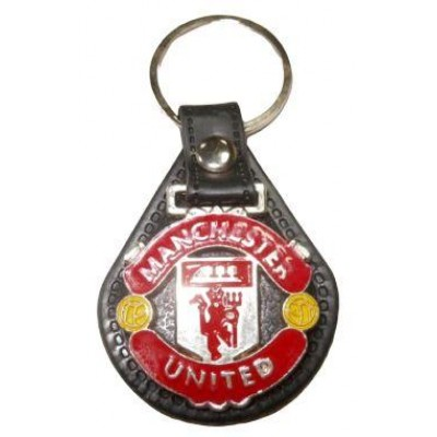 Брелок ФК Манчестер Юнайтед  металлический на кожаной подложке
