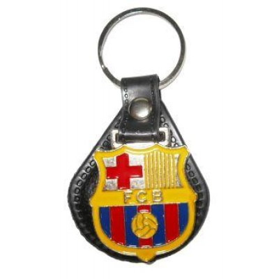 Брелок ФК Барселона металлический на кожаной подложке